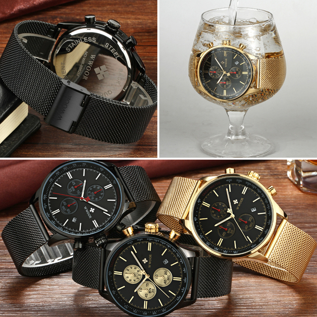 WWOOR Men's Luxury Chronograph Waterproof Stainless Steel Quartz Watches 5