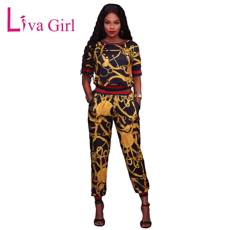 Liva Girl Autumn Sets Pants And Half Sleeve Top Suits Two Piece Sets Print Sweatsuit Women