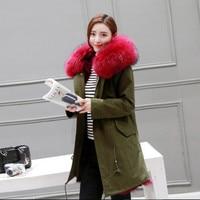 Overcoat fox fur liner fur coat female Army Green overcoat medium-long