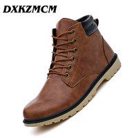 DXKZMCM Leather Men Boots Autumn Winter Ankle Boots Fashion Casual Footwear   Shoes   Men High Quality Vintage Men   Shoes