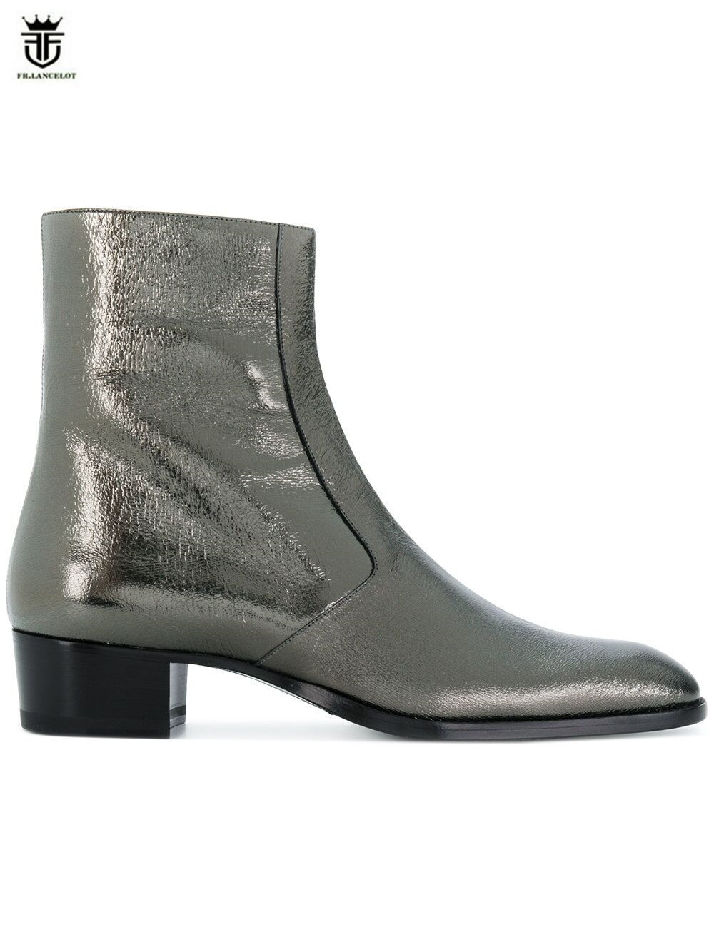 FR.LANCELOT 2020 sequin Boots real leather boot Vintage British Style Men Short Boots zip on glitter men's boots med heel