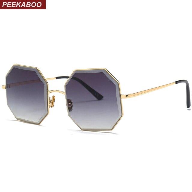 Peekaboo octogonal metal ouro óculos de sol das mulheres 2019 quadrado  marrom uv400 metal frame do f770d7e416