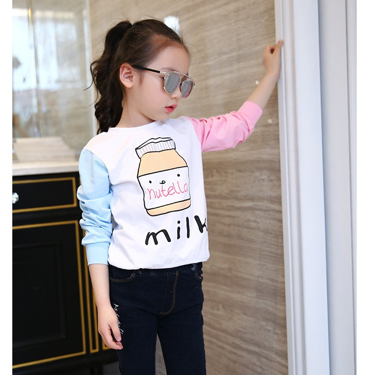 little teenage girls t-shirt character girls tops blue white pink patchwork tees girl tshirt 2016 spring autumn kids clothes  6 7 8 9 10 11 12 13 14 15 16 years old big little teenage girls long sleeve t-shirts children clothing (10)