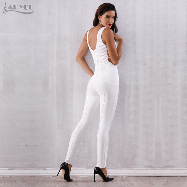 Bandage Jumpsuit Rompers Vestidos Verano Sexy Sleeveless Deep V Hollow Out Celebrity Party Jumpsuits 4