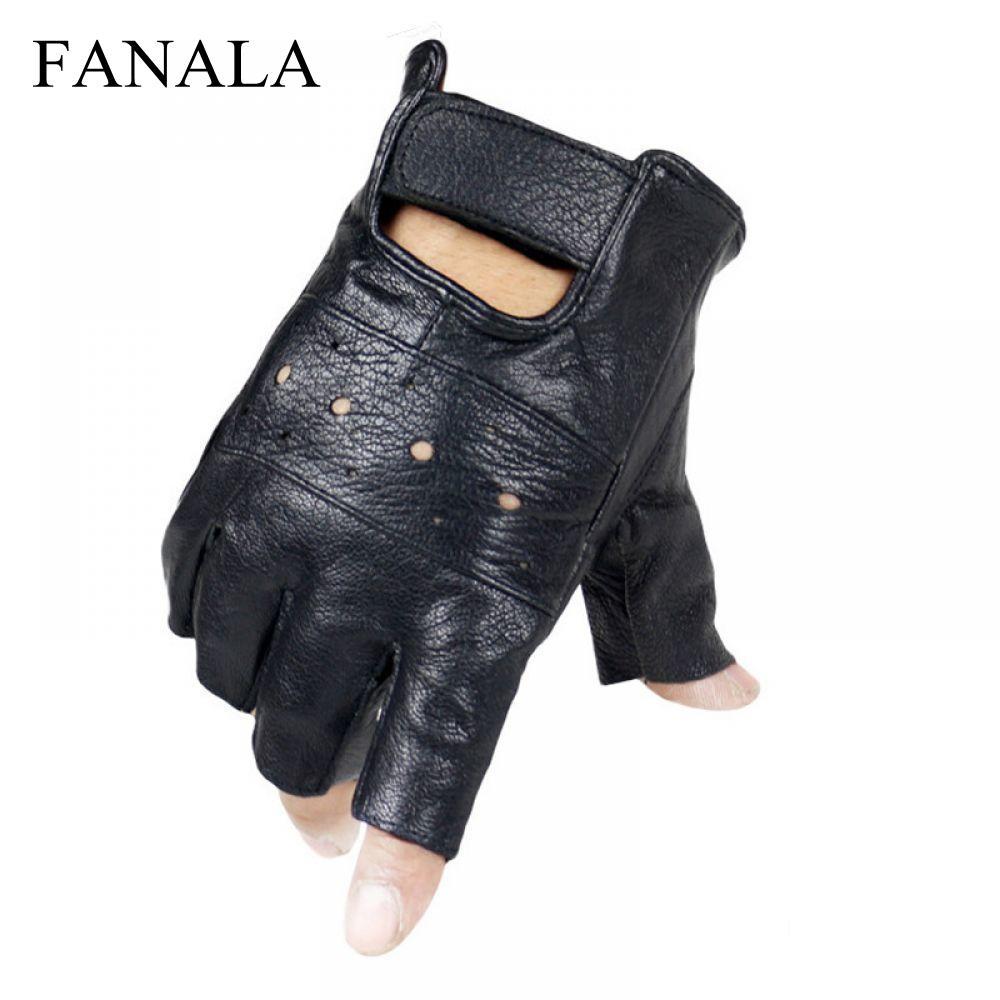 Cuero antideslizante ovejas moto cuero sin dedos guantes hombres calidad dedo Luvas guardián gants guantes medio genuino largo