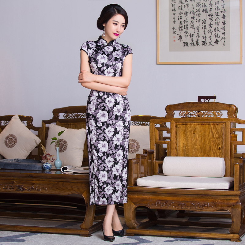 572fc71a8 Free shipping floral print Long Qipao traditional chinese cheongsam ...