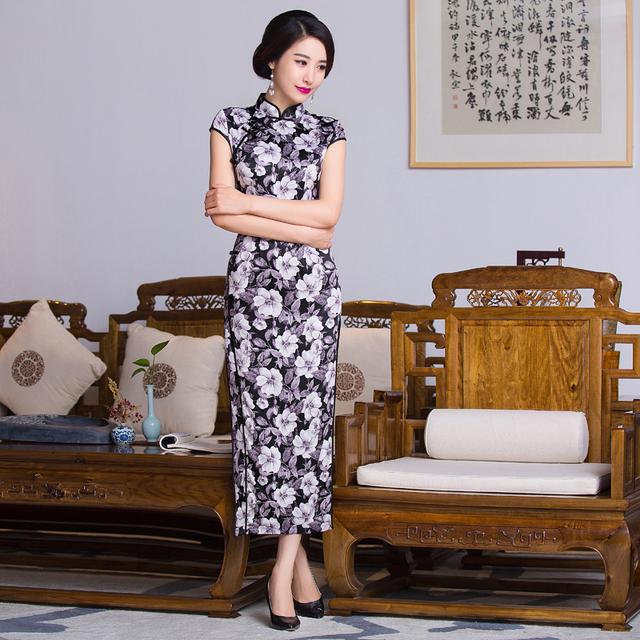 cc1262dff Free shipping floral print Long Qipao traditional chinese cheongsam dress  qipao oriental dresses blue chinese style