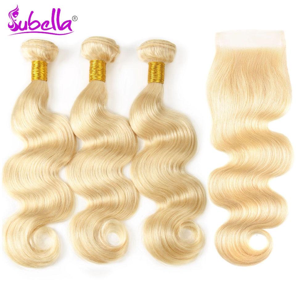Subella волос перуанской тело волна волос 3 Связки с закрытием 613 блондинка Цвет человеческих волос с 4x4 застежка Бесплатная доставка