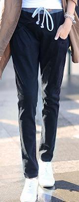 Новинка; Хлопковые Штаны-шаровары с эластичной резинкой на талии; джинсы; повседневные брюки; женские узкие брюки ярких цветов - Цвет: Черный