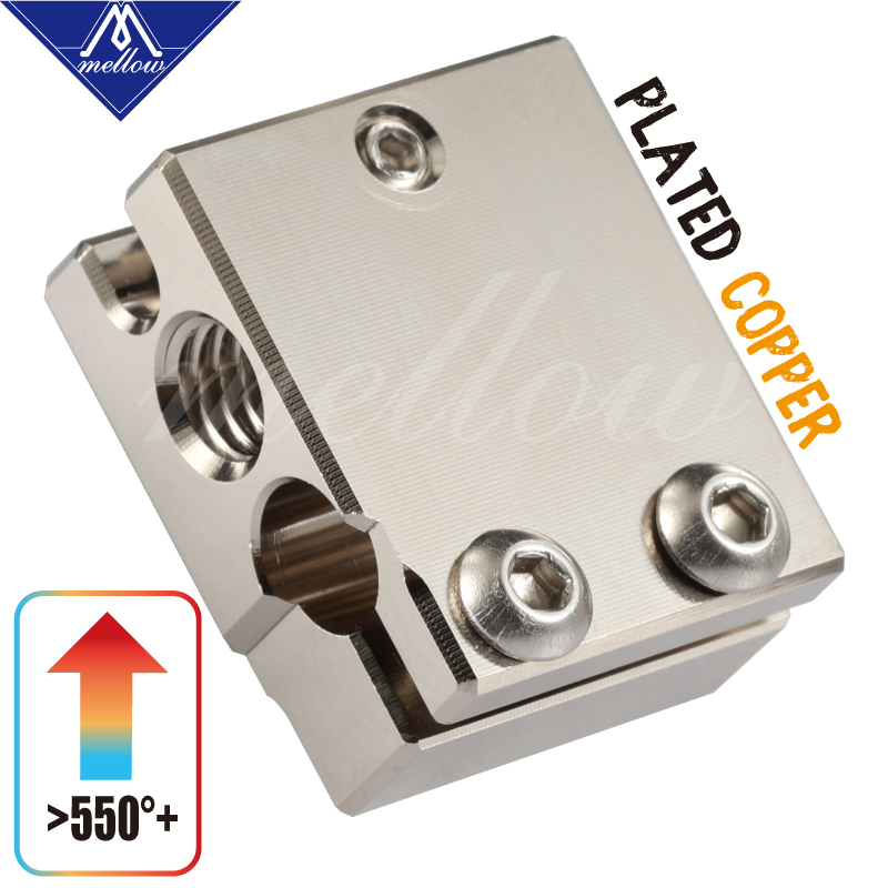 Mellow Top NF-V6 PT100 Volcano Plated Copper Heat Block For E3d Volcano Hotend 3D Printer For BMG Extruder Titan Heated Block