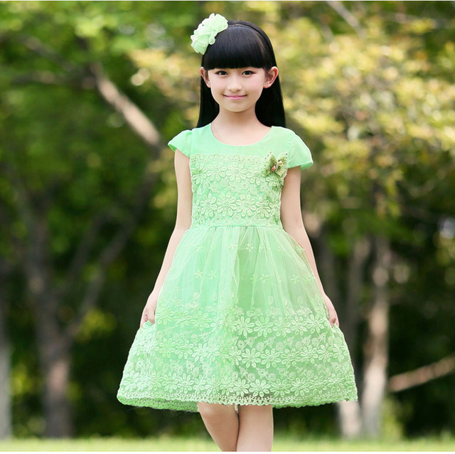 64e9fe72508c5 New 2015 top quality girls cute lace flowers tutu mesh princess dress  3-11age children kids pink party vestidos clothes 372D