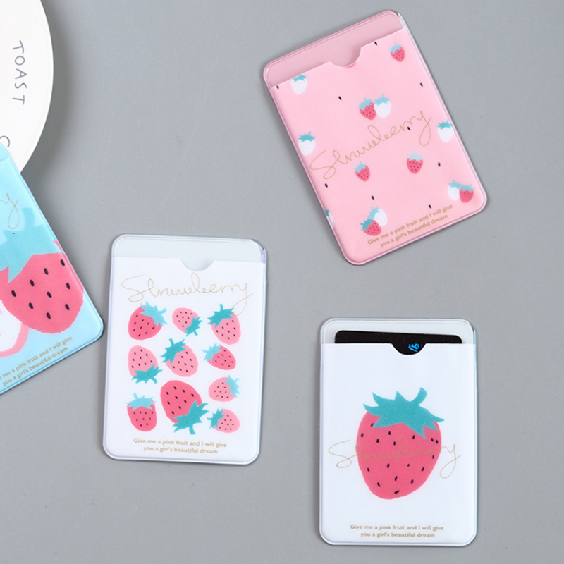 4 Pcs/set Kawaii Fruit Strawberry Cartoon PVC Bus Credit Card Holder ID Card Holder Cover Case Mini Wallet Stationery Supplies ...