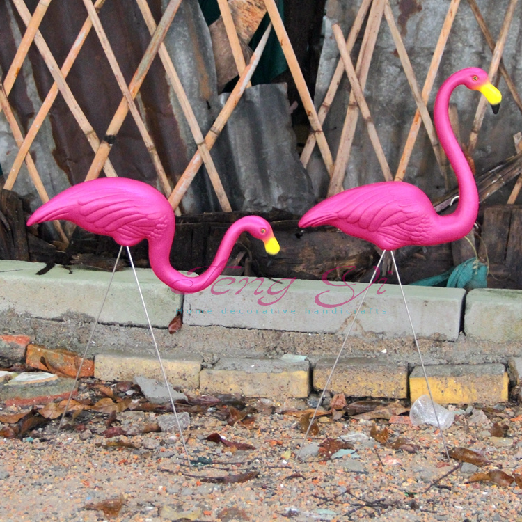 1 Pair Pink Plastic Flamingos Garden Courtyard Lawn Decoration Wedding Party Jardin Landscape Dressing Decorated Ornaments In Diy Decorations From