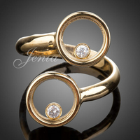 Jenia Brand Design Elegant Double Circle Gold Color Ring Two Zirconia Ring For Women XR052