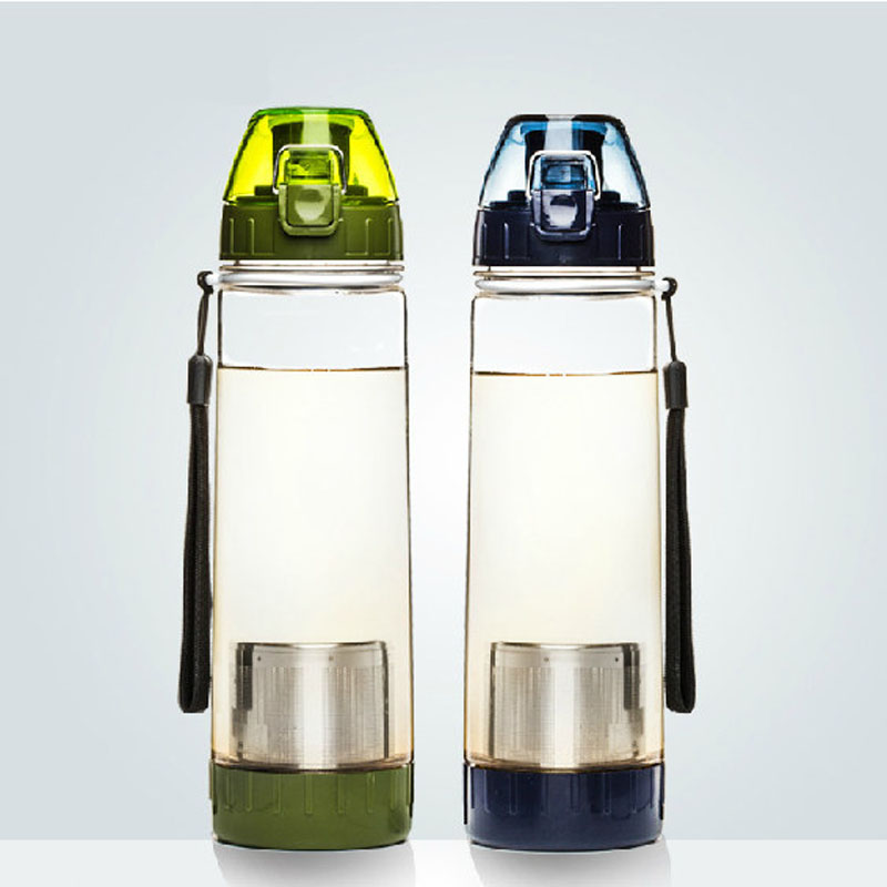 500/600ml Outdoor Sport Bottle Plastic Infuser Water Bottle Leakproof Portable Travel Drink Bottle for Gifts