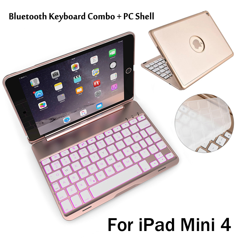 7 Colors Backlit Light Wireless Bluetooth Keyboard Case Cover For iPad Mini4 Mini 4 + Stylus + Film for ipad mini4 aluminum keyboard case with 7 colors backlight backlit wireless bluetooth keyboard