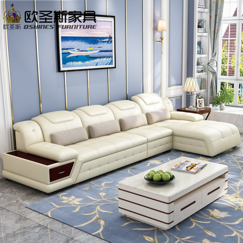 New Model L Shaped Modern Italy Genuine Real Leather Sectional Latest Corner Furniture Living Room Sofa Set L20