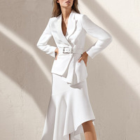 High Quality Dress Suit Women 2018 New Arrival Office Work For Ladies White Blazer Jacket Formal Business Wear Dress Suits 2pcs