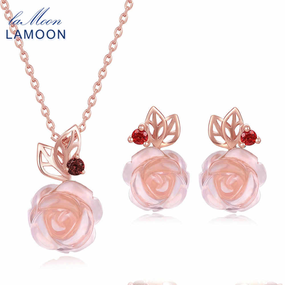 LAMOON FlowerRose Natural Pink Rose Quartz made with 925 Sterling Silver Jewelry  Jewelry Set V033-2