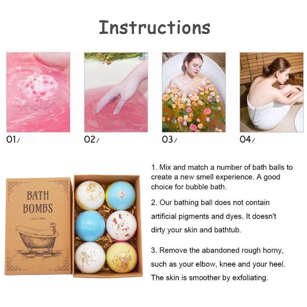 6Pcs Floral Aromatherapy Bath Bombs Natural Handmade Dried Flower Rainbow Bath Salt Ball Shower Fizzy Bomb Skin Care