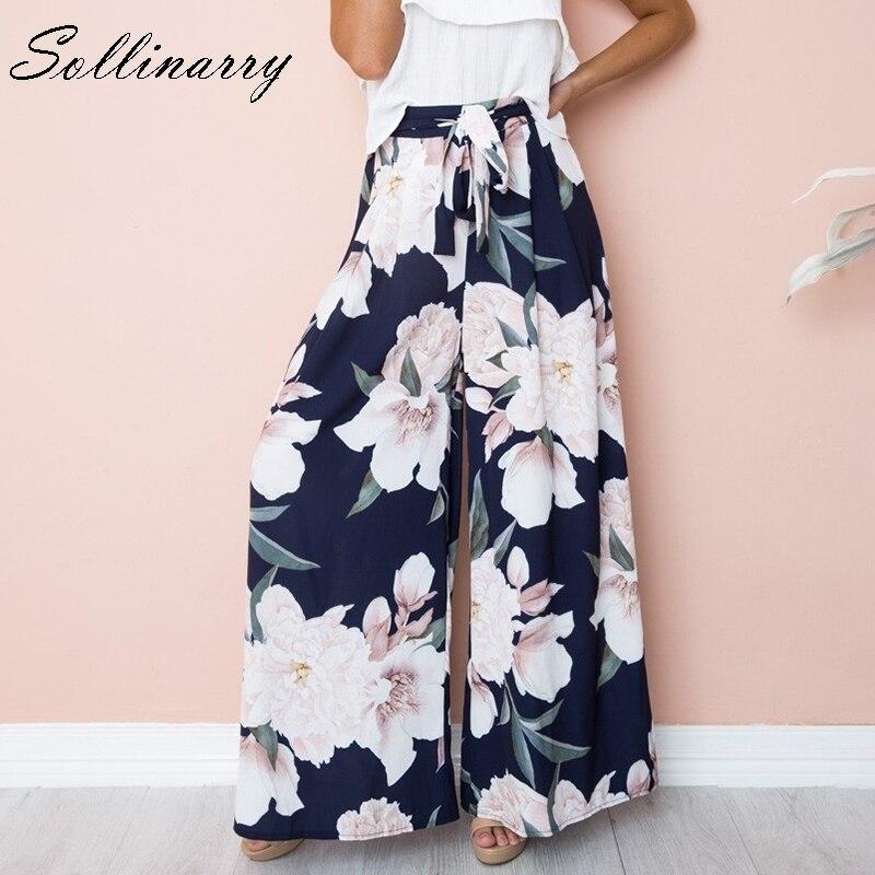 Sollinarry New Spring Summer Flower Floral   Wide     Leg     pants   Women Casual High Waist Beach Women   Pants   Sash Loose Feminino Trousers
