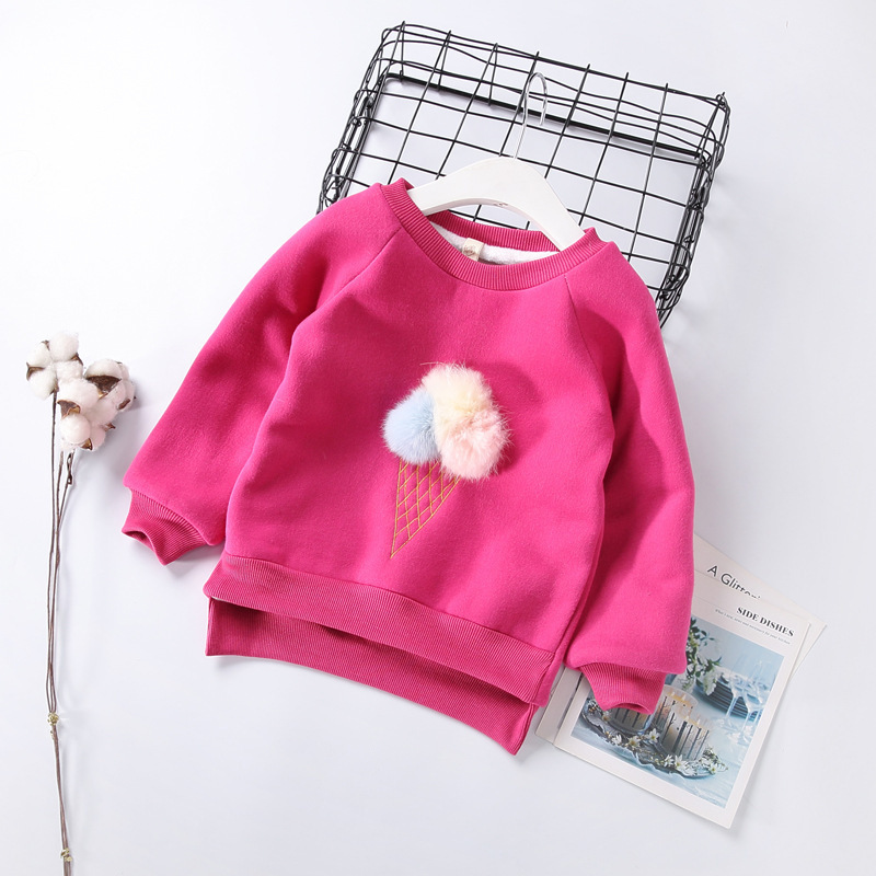Cute Ball Ice Cream Girls Sweatshirt Autumn Winter Thick Warm Kids Sweatshirts for Girl O-neck Long Sleeve Children Top Clothing 4