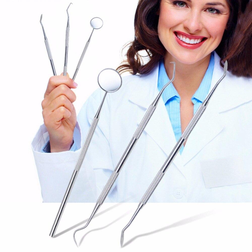 3 pcs Dentaire Outils En Acier Inoxydable Dents Blanchissant Kit Dentisterie Dentiste seks Dent scraper scaler pick Set mirror instruments 30