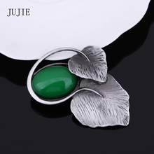 Фотография JUJIE JEWELRY Korean Fashion Exquisite Double Leaves Brooches For Women Green Semi-precious Stone Brooches Scarves Buckle