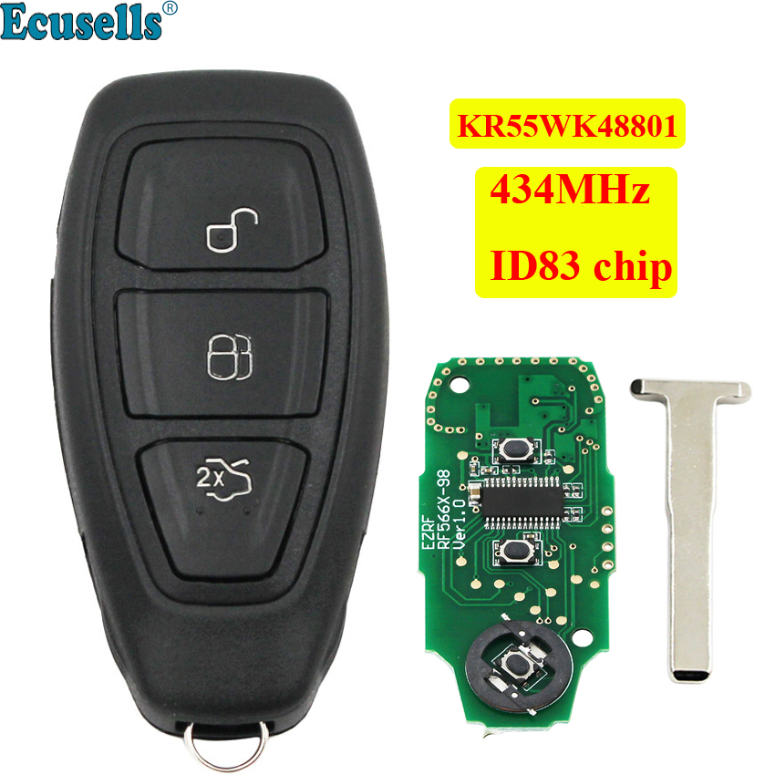 full Remote Key fob 434MHz ID83 4D63 chip for Ford Focus C-Max Mondeo Kuga Fiesta B-max S-max Galaxy KR55WK48801 + insert key