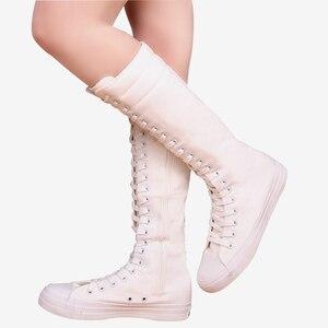 Image 2 - Sexy schlanke Schuhe für Frauen 2020 flache Plattform Frau Mid Calf Stiefel Plus Size Reißverschluss Schnürung Leinwand High Top weibliche weiße Schuhe