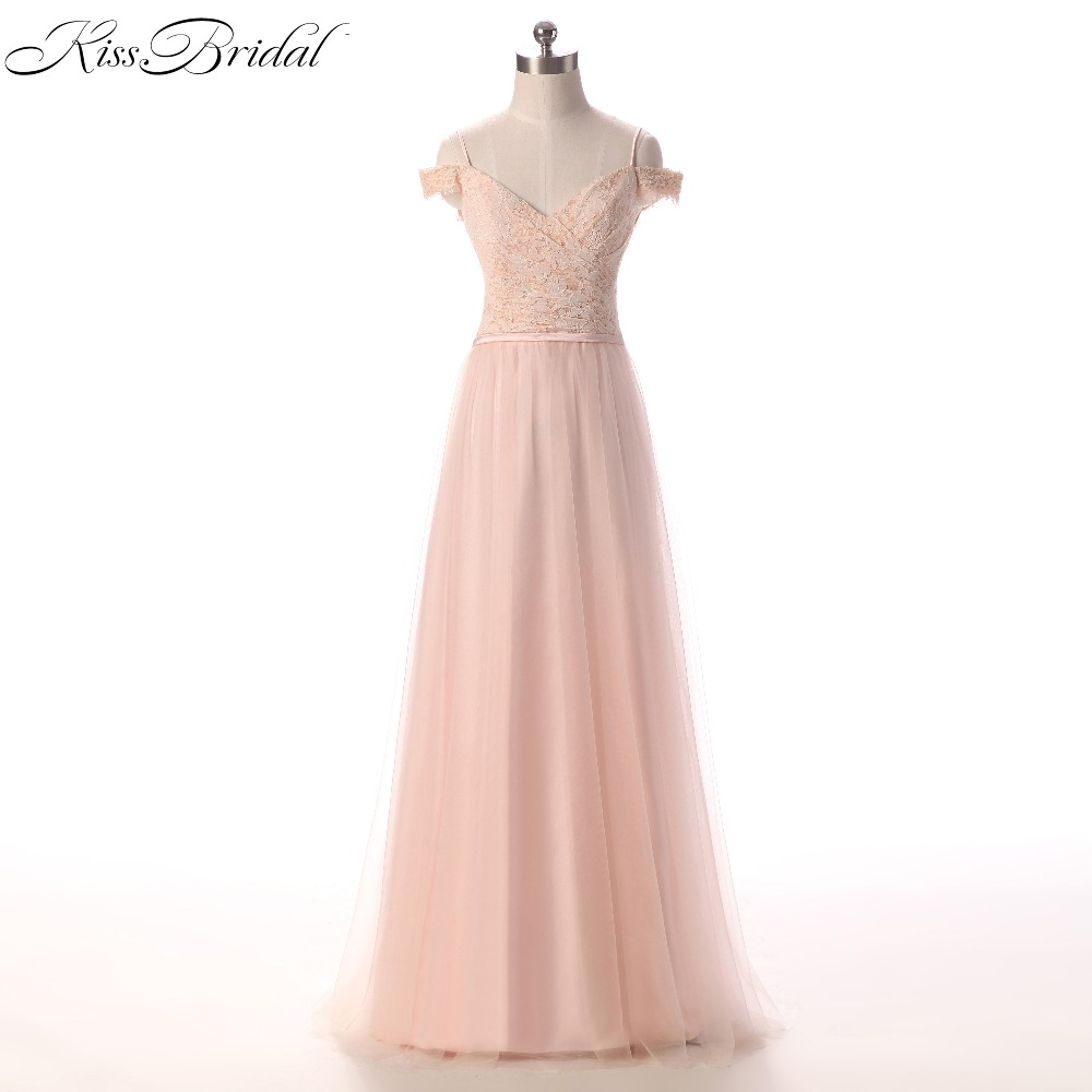 New Elegant Light Pink Evening Dresses 2018 Off Shoulder Tulle Long Prom Evening Party Gowns For Women Bakcless