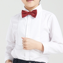 Free shipping baby long-sleeve white shirt child shirt formal dress shirt male child with the bow formal shir for 100-160cm tall недорого