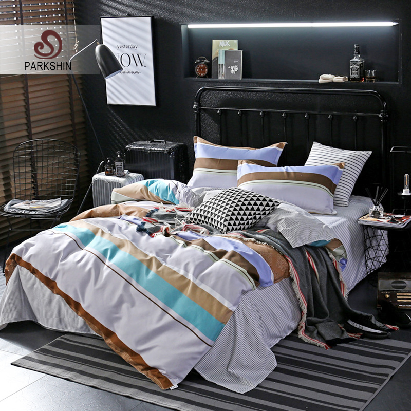 ParkShin Fashion Art Striped Bedding Set Comforter Duvet Cover Active Printing Set Bed Linen Bedclothes Multi Sizes
