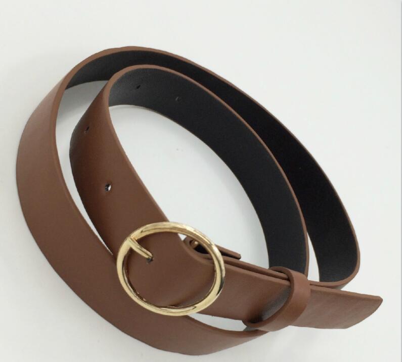 Женский кожаный ремень, новые круглые пряжки, ремни для женщин, для досуга, джинсы, дикие, без шпильки, металлическая пряжка, женский ремень - Цвет: Style 2 CoffeeGold