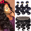 Indian Virgin Hair With Closure 3 Bundles Indian Hair Body Wave With 13*4 Lace Frontal Indian Body Wave Human Hair With Closure