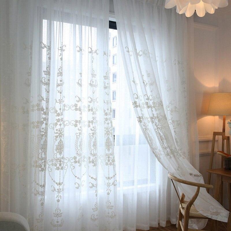US $8 11 53% OFF אירופאי וואל לבן רקום וילונות טול וילונות חלון וילונות  שקופים לסלון חדר שינה-בוילונות מתוך בית וגן באתר AliExpress com   Alibaba