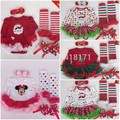 2017New Xmas Baby Girl Long Sleeve Tutu Rompers Dress+Stockings+Headband+Shoes 4pcs Sets Christmas Santa Clause Sets