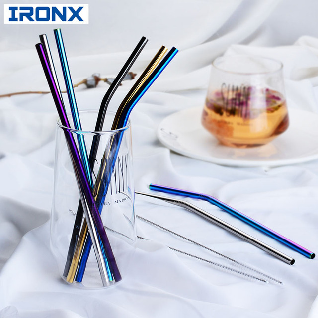 IRONX 304 Rvs Herbruikbare Metalen Rietjes +  Reinigings borstel  Bar Accessoires Voor 20 Oz Cup