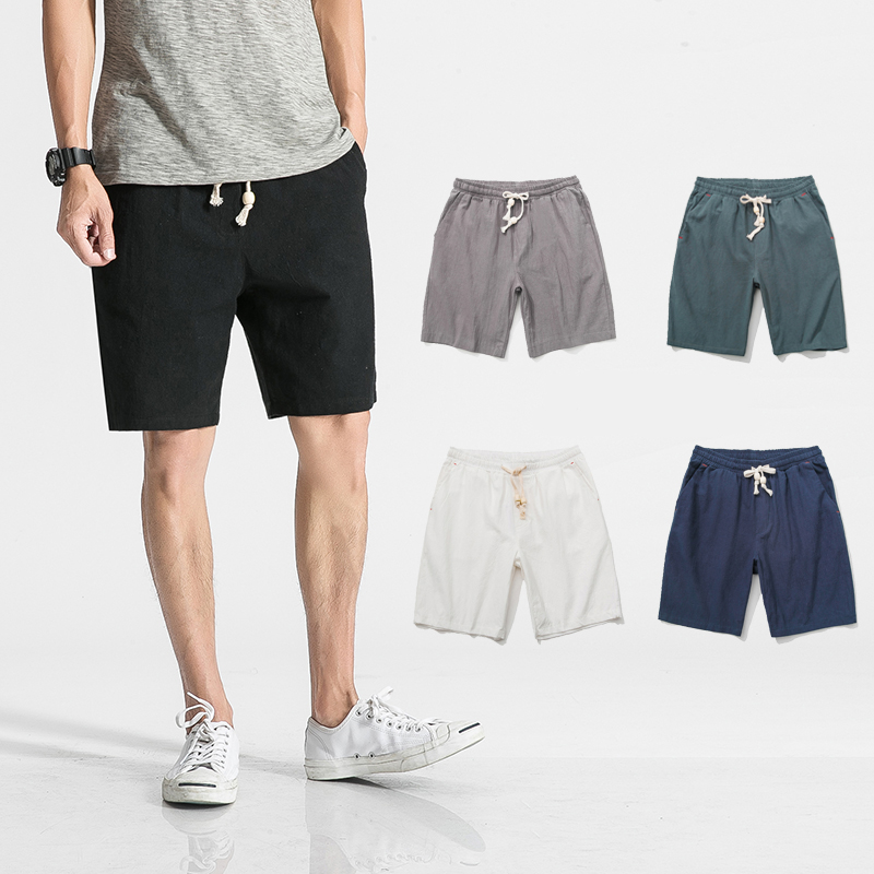 Summer Casual Cotton Linen Shorts Men Solid Slim Fit Bermuda Mens Shorts Knee Length Short Pants Men