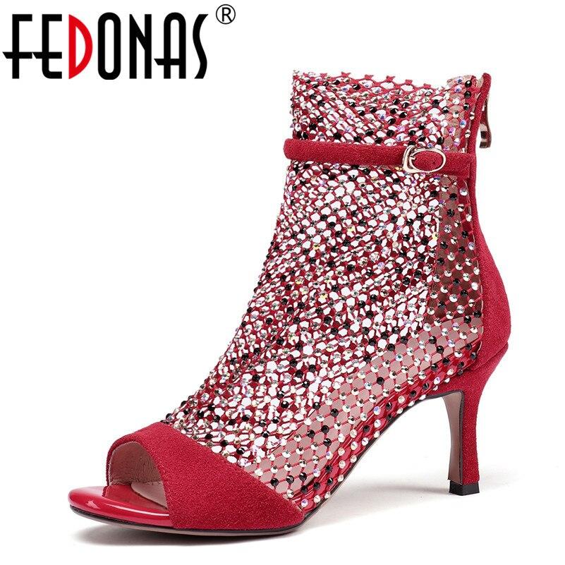 Parti Danse En D'été Femmes Noir De Hauts Daim Cuir Sandales Fedonas Peep Toe rouge Bottes Talons Chaussures Mode Femme Strass Pompes PkulZOiXTw