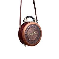 2018 Summer Retro Clock Handbags Women Leather Workable Alarm Clock Sing Shoulder Bags Ladies Brown Crossbody Bags Timbers Totes