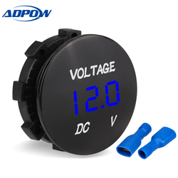 ADPOW Waterproof DC 12V 24V Motorcycle Boat Car Digital Voltmeter Led Display Car Voltage Meter Tester Panel For Truck ATV
