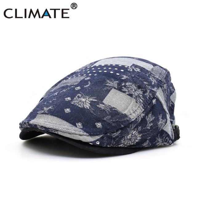 bb331292fb8 CLIMATE New Spring Autumn Women Men Denim Artist Flower Flat Berets Caps Hat  for Adult Unisex Adjustable Dark Floral Flat Caps
