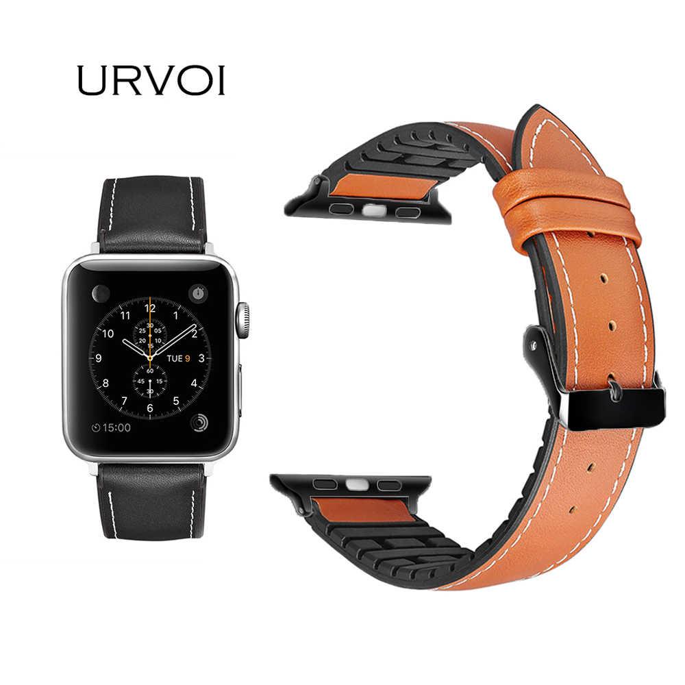 a4f73d4ce780 Urvoi ремешок для Apple Watch Series1 2 3 кожаный ремешок для iwatch ремень  высокое качество дышащая