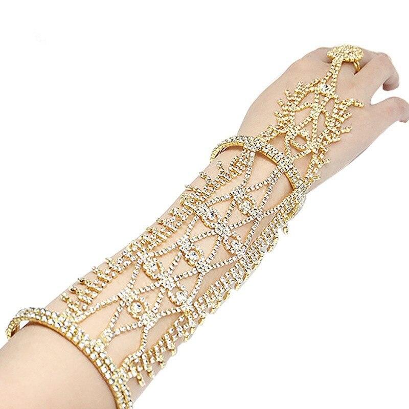 Luxury Classic Gold /Silver Color Tassels Crystal Rhinestone Wedding Bracelet Bridal Long Gloves Hand Back Chain Women Bracelets