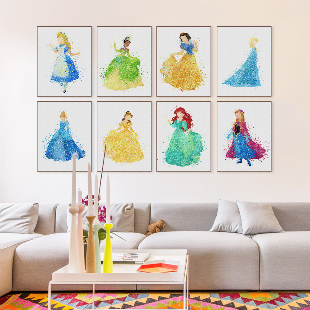 online buy wholesale whimsical wall art from china whimsical wall modern watercolor princess cinderella movie poster print a4 pop fairy tale wall art girl kids room