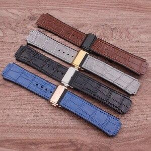 Image 2 - Accessoires de montre en cuir de haute qualité 25 * mm 19mm bracelet en caoutchouc boucle papillon pour bracelet Hublot bracelet de montre pour femme pour hommes