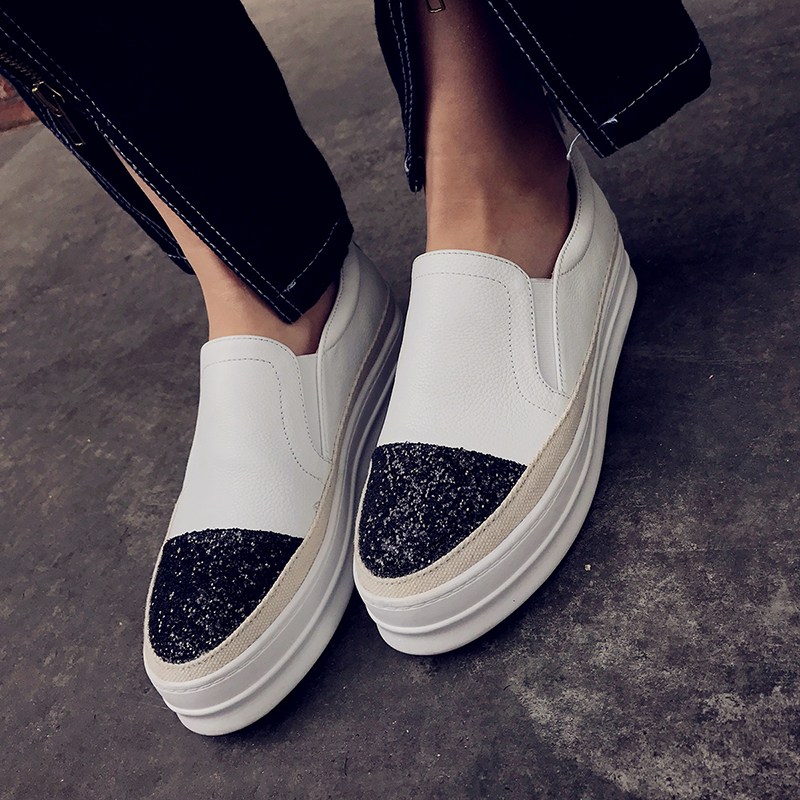 Women's Genuine Leather Sequins Toe Patchwork Platform Flats Loafers Brand Designer Leisure Espadrilles Shoes Women Moccasins women s genuine leather carving slip on loafers brand design platform flats leisure espadrilles brogues shoes moccasins zapatos