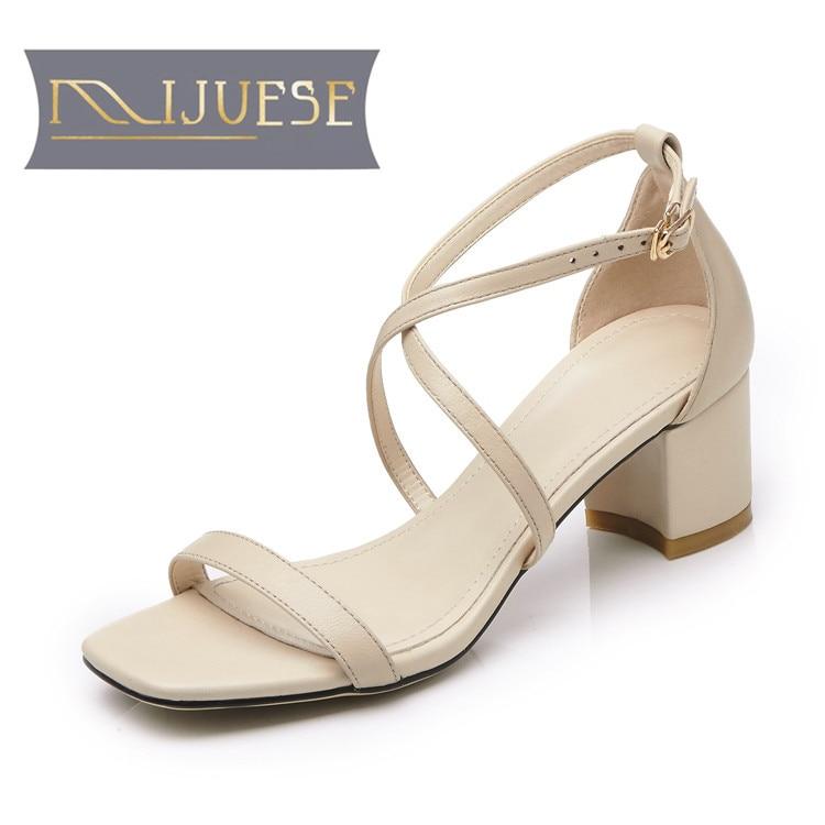MLJUESE 2018 ženske sandale iz pravega usnja poletni stil Črna - Ženski čevlji