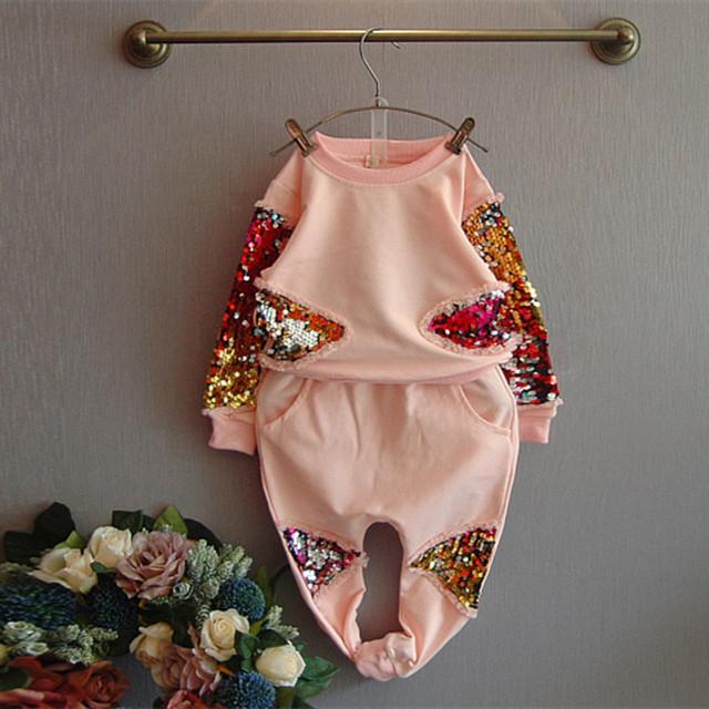 Primavera Otoño Ropa de Bebé Niñas Establece Manga Larga Lentejuelas Pullover Top Pant 2 unids Niños Set Moda Muchacha Del Niño Ropa 2-8Years
